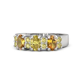 Oval Yellow Sapphire Sterling Silver Ring with Yellow Sapphire and Citrine