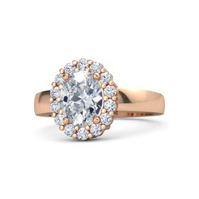 Oval Diamond 14K Rose Gold Ring with Diamond