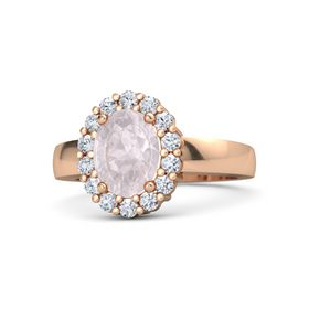 Oval Rose Quartz 14K Rose Gold Ring with Diamond