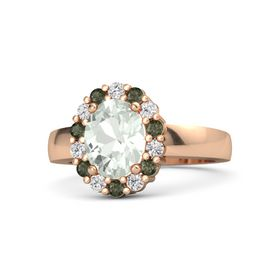 Oval Green Amethyst 14K Rose Gold Ring with White Sapphire and Green Tourmaline