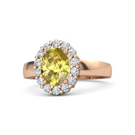 Oval Yellow Sapphire 14K Rose Gold Ring with Diamond