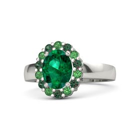 Oval Emerald 14K White Gold Ring with Emerald & Alexandrite