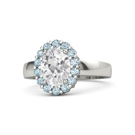 Oval White Sapphire 14K White Gold Ring with Aquamarine