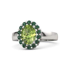 Oval Peridot 14K White Gold Ring with Alexandrite