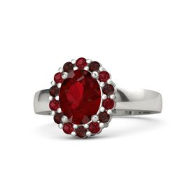 Oval Ruby 14K White Gold Ring with Ruby and Red Garnet