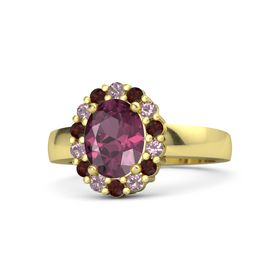 Oval Rhodolite Garnet 14K Yellow Gold Ring with Rhodolite Garnet and Red Garnet