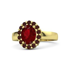 Oval Ruby 14K Yellow Gold Ring with Red Garnet