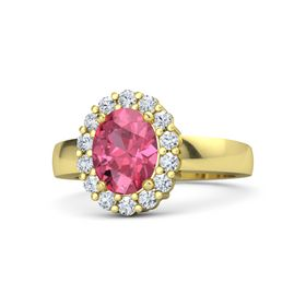 Oval Pink Tourmaline 14K Yellow Gold Ring with Diamond
