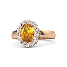 Oval Citrine 18K Rose Gold Ring with White Sapphire