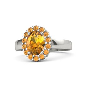 Oval Citrine 18K White Gold Ring with Citrine