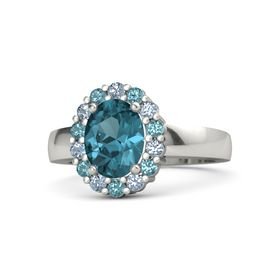Oval London Blue Topaz Palladium Ring with Blue Topaz & London Blue Topaz