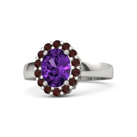 Oval Amethyst Palladium Ring with Red Garnet