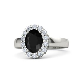 Oval Black Onyx Palladium Ring with Diamond