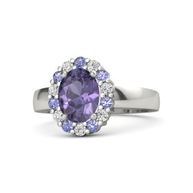 Oval Iolite Palladium Ring with Iolite and White Sapphire