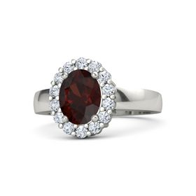 Oval Red Garnet Platinum Ring with Diamond