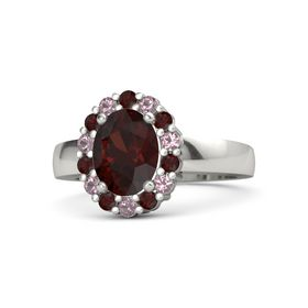 Oval Red Garnet Platinum Ring with Red Garnet and Rhodolite Garnet