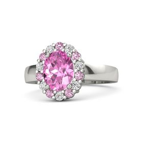 Oval Pink Sapphire Platinum Ring with Pink Sapphire & White Sapphire
