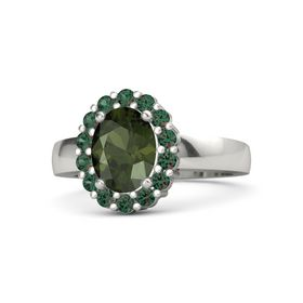 Oval Green Tourmaline Platinum Ring with Alexandrite