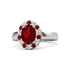 Oval Ruby Platinum Ring with Ruby and White Sapphire