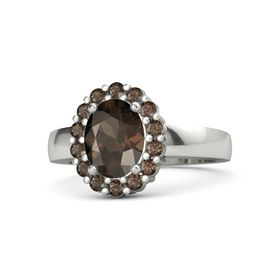 Oval Smoky Quartz Platinum Ring with Smoky Quartz