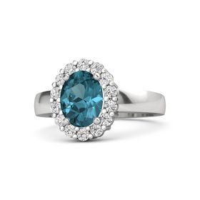Oval London Blue Topaz Sterling Silver Ring with White Sapphire