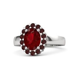 Oval Ruby Sterling Silver Ring with Red Garnet