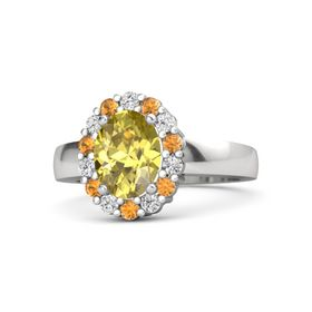 Oval Yellow Sapphire Sterling Silver Ring with White Sapphire and Citrine