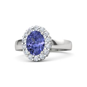 Oval Tanzanite Sterling Silver Ring with Diamond