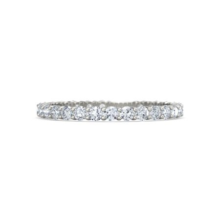 14K White Gold Ring with Diamond Rich & Thin Band