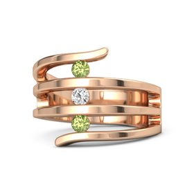 Round White Sapphire 14K Rose Gold Ring with Peridot