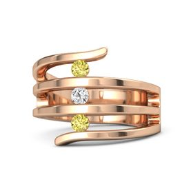 Round White Sapphire 14K Rose Gold Ring with Yellow Sapphire