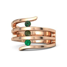 Round Green Tourmaline 14K Rose Gold Ring with Emerald and Alexandrite