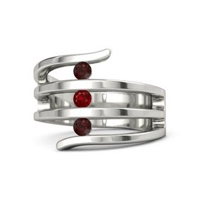Round Ruby 14K White Gold Ring with Red Garnet