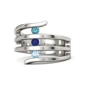 Round Sapphire 14K White Gold Ring with Blue Topaz & London Blue Topaz