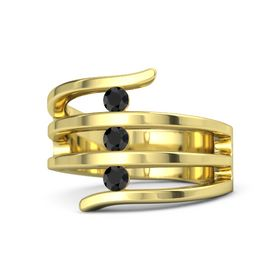Round Black Diamond 14K Yellow Gold Ring with Black Diamond