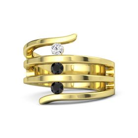 Round Black Diamond 14K Yellow Gold Ring with Black Diamond and White Sapphire