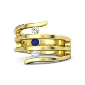 Round Blue Sapphire 14K Yellow Gold Ring with Aquamarine and White Sapphire