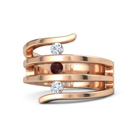 Round Red Garnet 18K Rose Gold Ring with Diamond