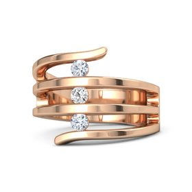 Round White Sapphire 18K Rose Gold Ring with Diamond