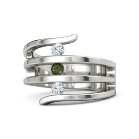 Round Green Tourmaline 18K White Gold Ring with Diamond
