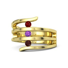 Round Amethyst 18K Yellow Gold Ring with Red Garnet and Ruby