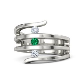 Round Emerald Platinum Ring with Diamond