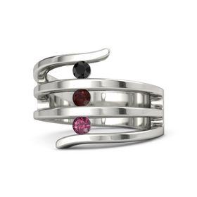 Round Red Garnet Platinum Ring with Rhodolite Garnet & Black Diamond