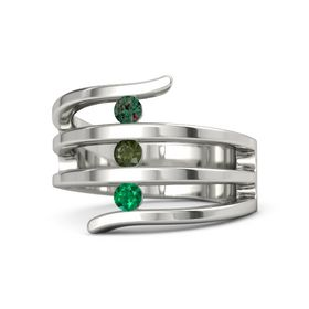 Round Green Tourmaline Platinum Ring with Emerald & Alexandrite
