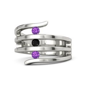 Round Black Onyx Platinum Ring with Amethyst
