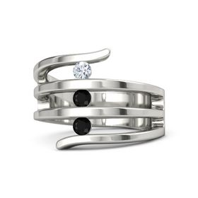 Round Black Onyx Platinum Ring with Black Onyx & Diamond