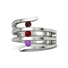 Round Ruby Platinum Ring with Amethyst and Red Garnet