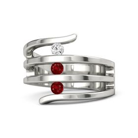 Round Ruby Platinum Ring with Ruby and White Sapphire