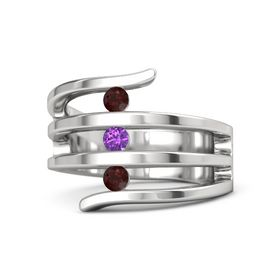 Round Amethyst Sterling Silver Ring with Red Garnet