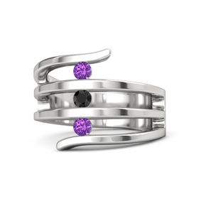 Round Black Diamond Sterling Silver Ring with Amethyst